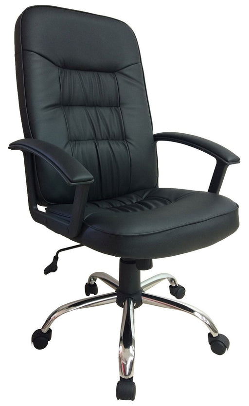 Manager Chair with Padded Armrest and Chrome Base, PU Leather Black