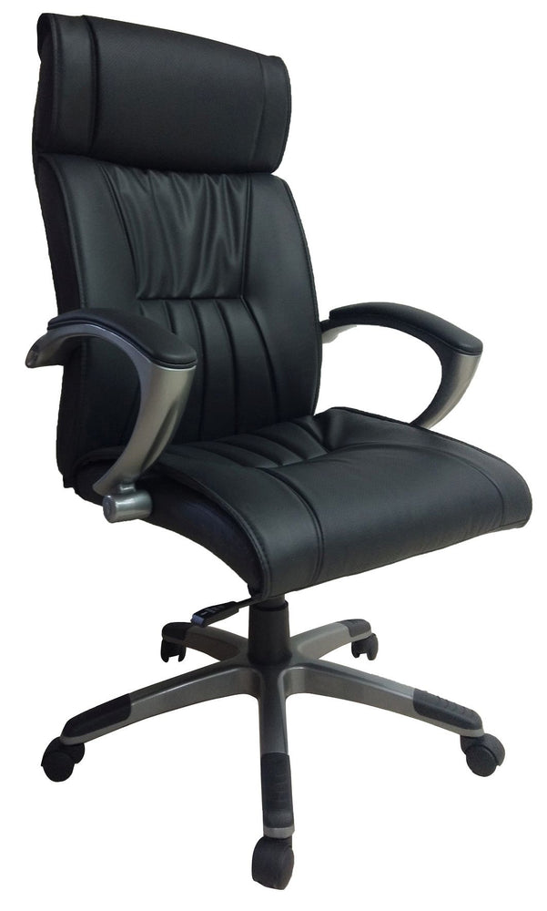 Ergonomic High Back Executive Chair with Padded Arms, PU Leather Black