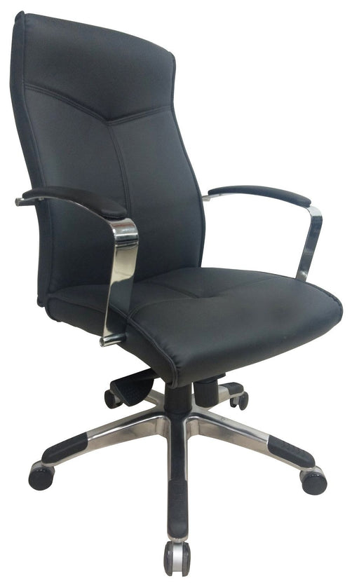 Executive High Back Swivel Office Chair, PU Leather Back and Seat, Black