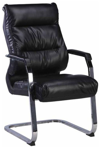 Visitor's Chair with padded armrest,  sled base, padded leather back and seat