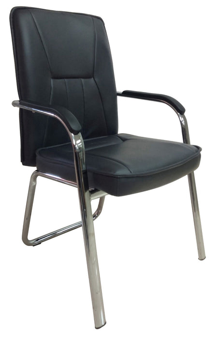 PU Leather Chrome Base Side Guest Chair with Armrest, Black