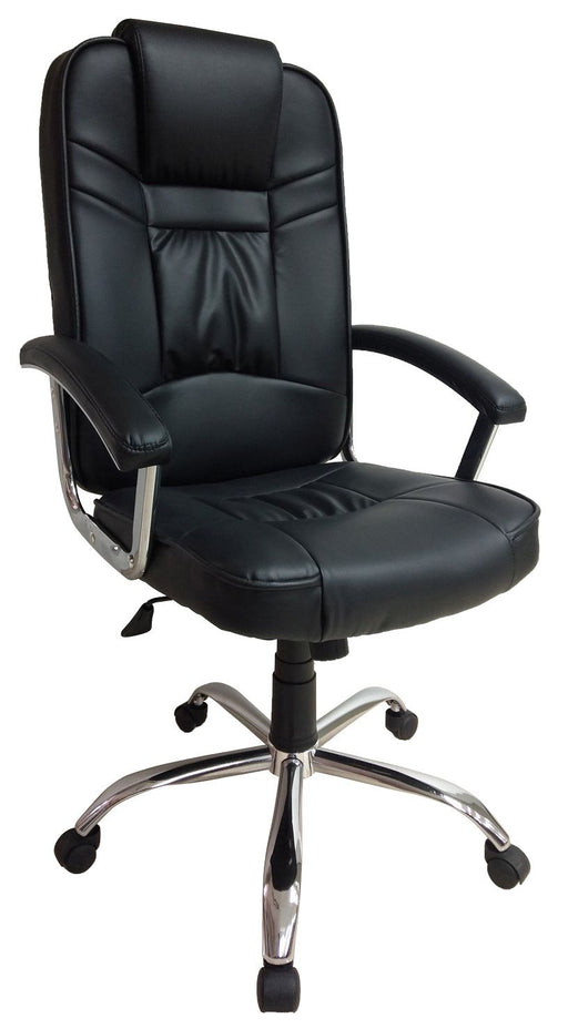 PU Leather Black Manager Chair with Armrest and Chrome Base