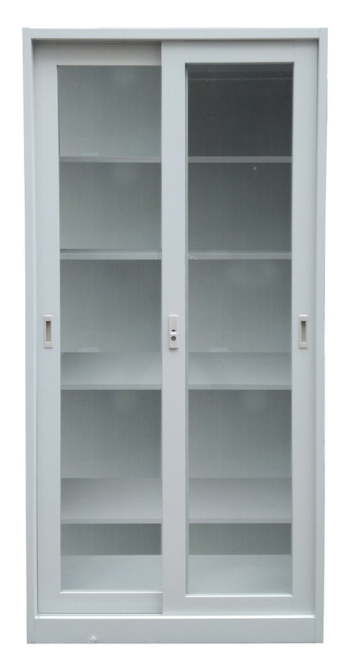 Steel Storage Cabinet with Glass sliding Door and Five Shelves, Light Gray