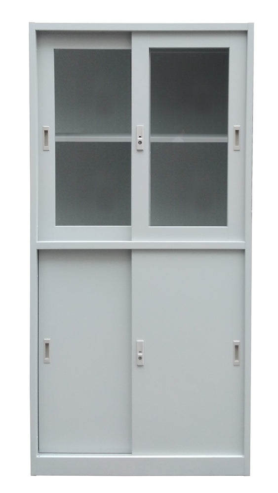 Steel Storage Cabinet, Top See-Thru Sliding Door, Bottom Steel Sliding Door, Light Gray