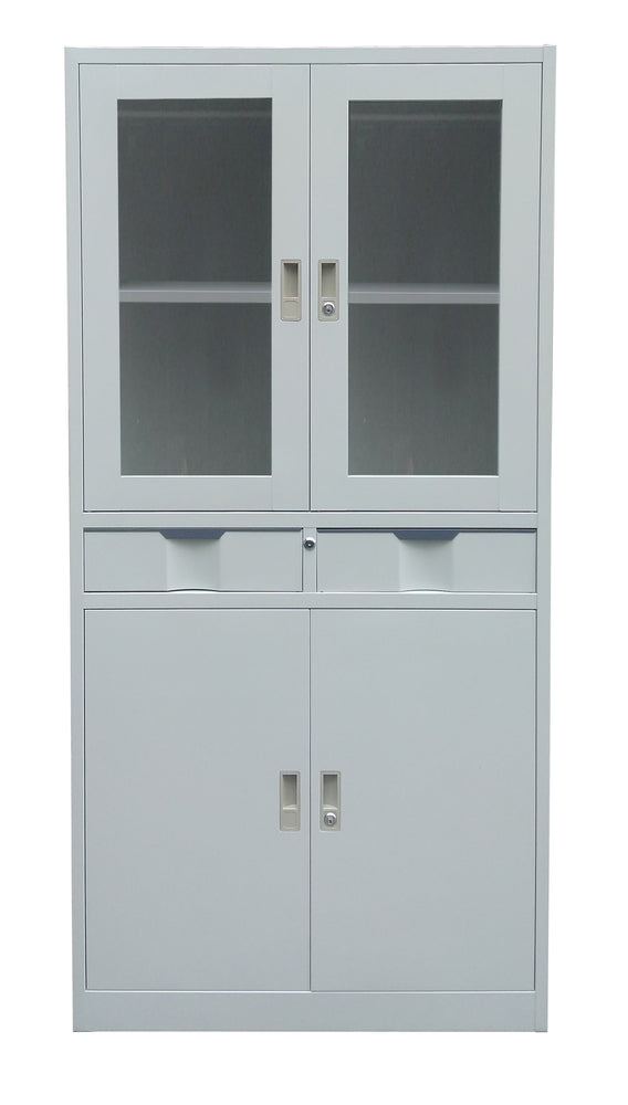 Steel Storage Cabinet with See Through Doors, Two Drawers, Cabinet, Light Gray