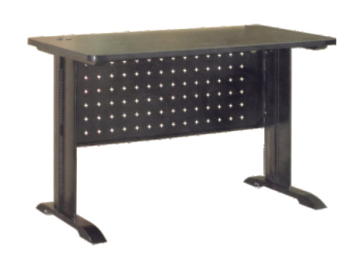 Industrial Writing Table with Black Metal Leg and Front Panel, Perforated Design, Laminated Wenge TableTop
