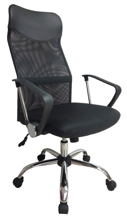 High Back Black Headrest and Mesh Swivel Office Chair with Armrest, PU Leather Black