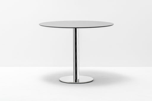 Chrome Base Meeting Table for Four 90 cm Diameter Light Grey Top