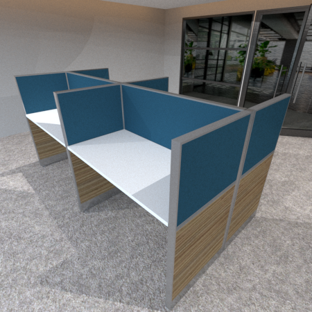 BPO Workstation for 4 persons in 2 x 2 configuration; Partition Panel System in Fabric or Laminate Finish; Light Grey Top