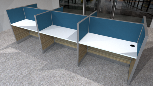 BPO Workstation for 6 persons in 2 x 3 configuration; Partition Panel System in Fabric or Laminate Finish; Light Grey Top