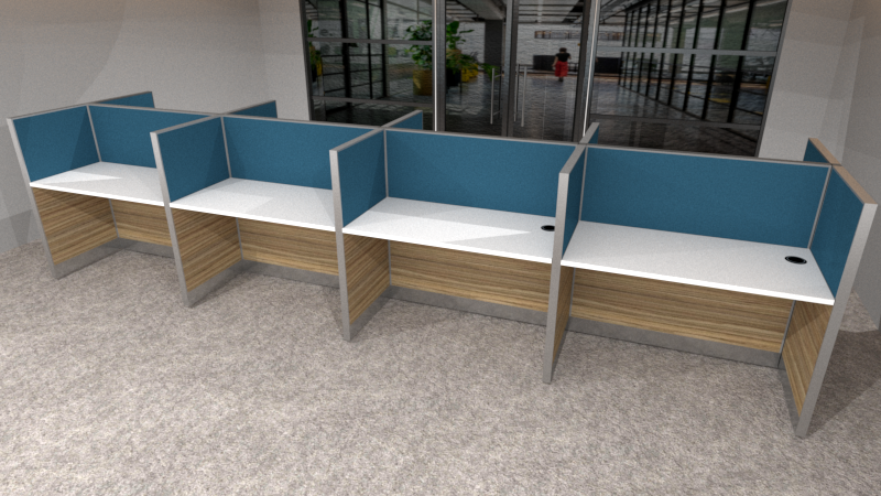 BPO Workstation for 8 persons in 2 x 4 configuration; Partition Panel System in Fabric or Laminate Finish; Light Grey Top