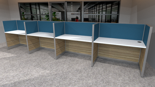 Call Center Workstation for 4 persons in 1 x 4 configuration; Partition Panel System in Fabric or Laminate Finish; Light Grey Top