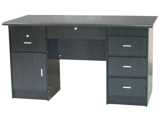 Modern Office Table with Center and Double Pedestal Drawers and Cabinet, Wenge