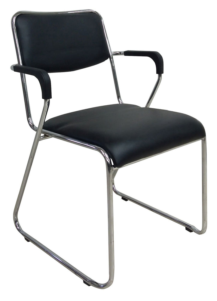Visitor Chrome Sled Chair with Armrest, PVC Black