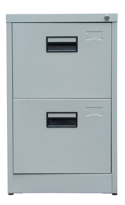 2 Drawer Steel Vertical Filing Cabinet, Light Gray