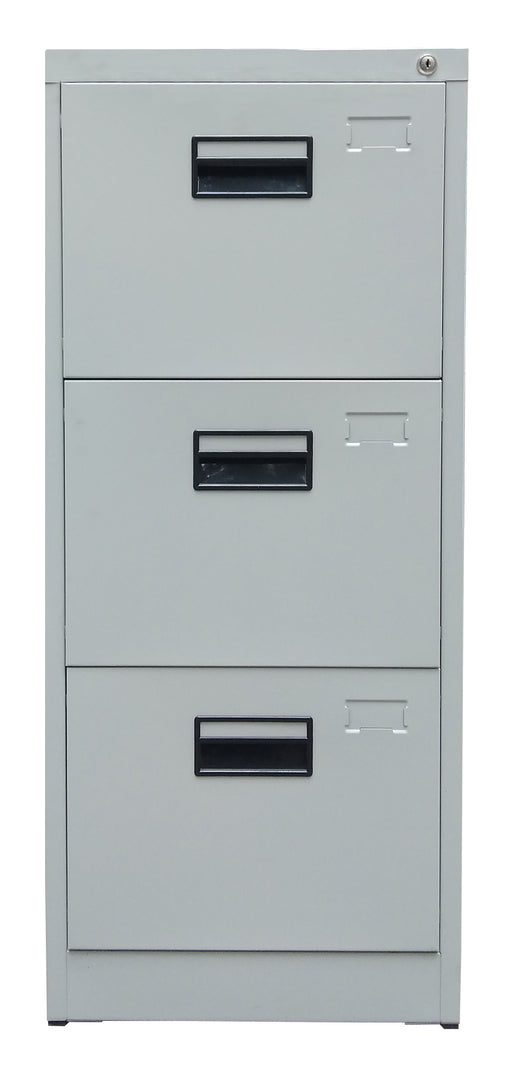 3 Drawer Steel Vertical Filing Cabinet, Light Gray