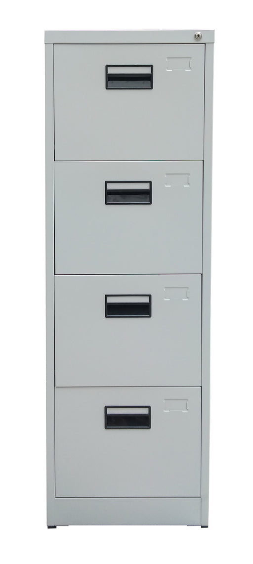 4 Drawer Steel Vertical Filing Cabinet, Light Gray