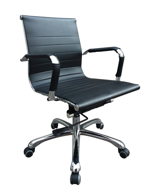 Designer Midback Chair with Chrome Armrest and Base, PU Leather Black
