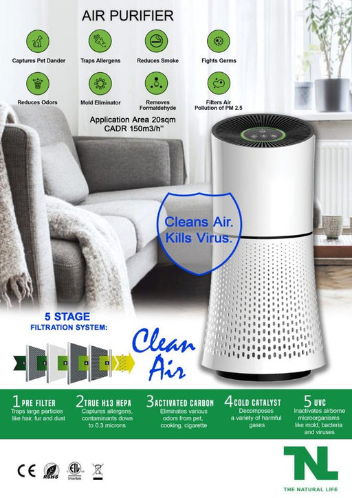 Desktop Air Purifier UV HEPA Filter 5 Stage