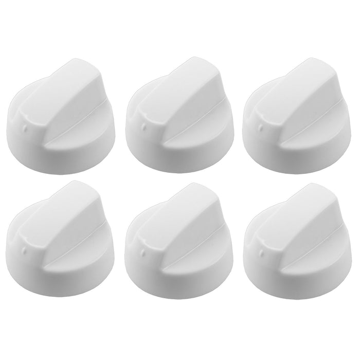 6 x WHITE Control Knobs Dials for Fully Universal Cooker Oven Hob