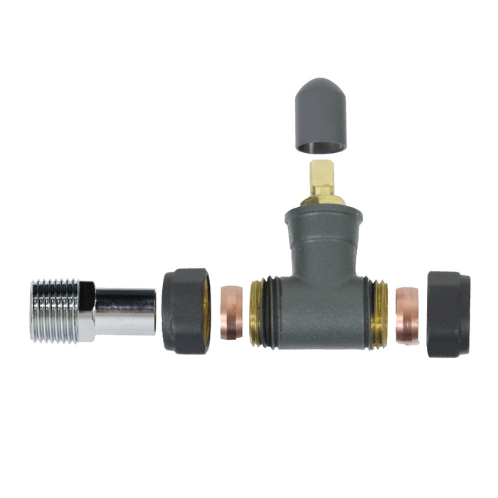 """Anthracite Thermostatic and Manual Angled Radiator Valve Set 15mm x 1//2/"""" TRV"""