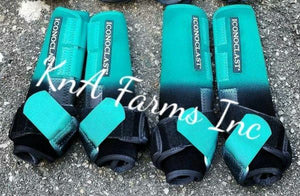 Teal/Black Ombre with Teal Strap Front Boots