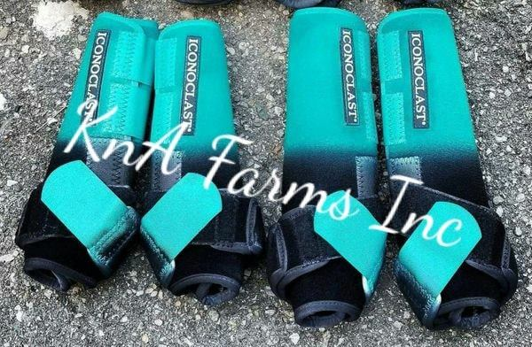 Teal/Black Ombre with Teal Strap Hind Boots