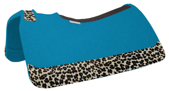 5 Star Turquoise Felt Saddle Pad with Full Length Leopard Wear Leathers