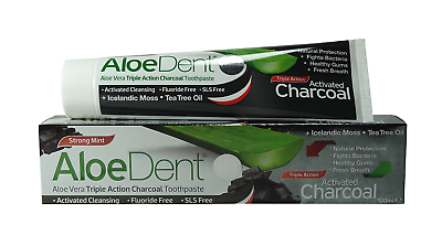 AloeDent Activated Charcoal Toothpaste 100ml fluoride free