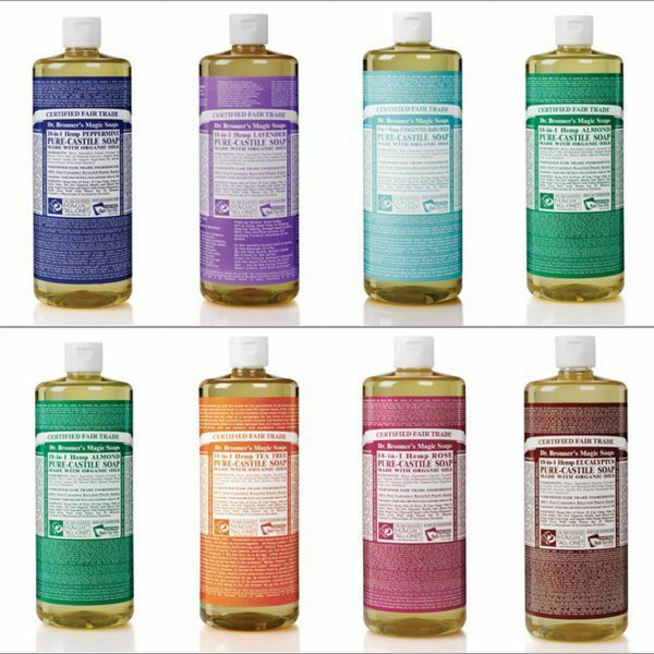 Dr Bronner Castile liquid soap Organic Fair trade 473ml 16oz Vegan
