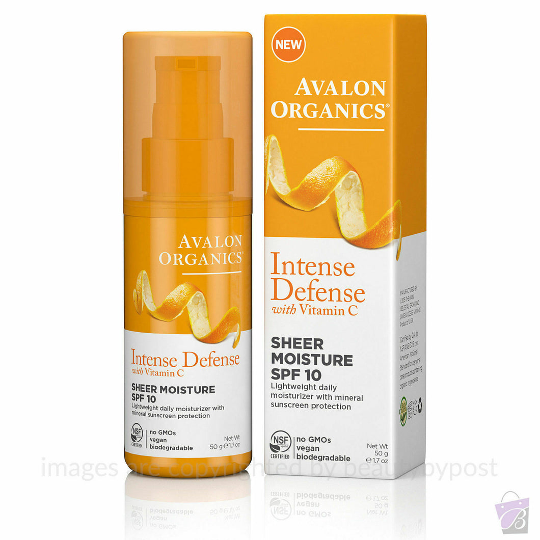 Avalon Organics Intense Defense Sheer Moisture SPF10 with Vitamin C 50g vegan