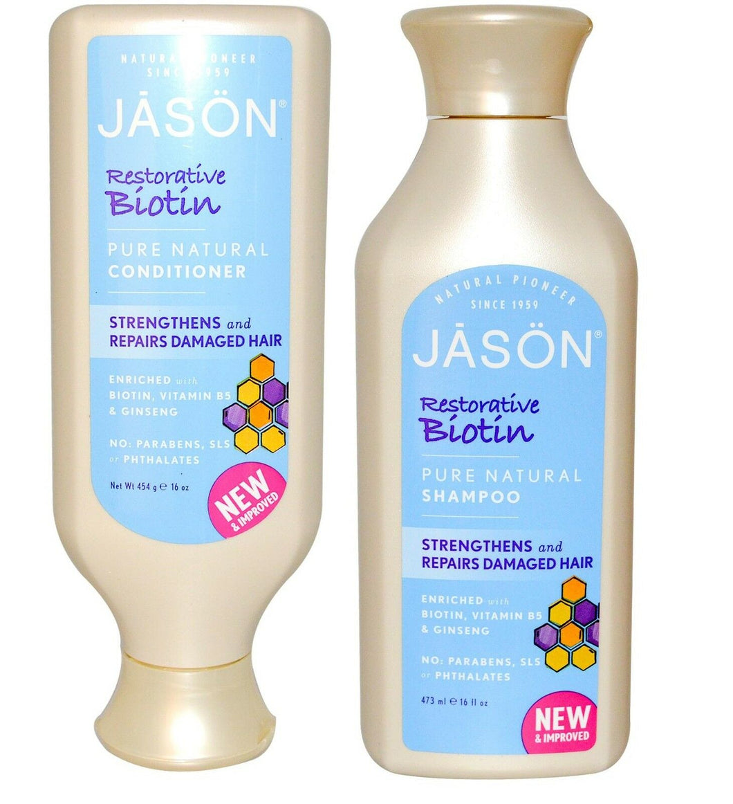 Jason Restorative Biotin Shampoo & Conditioner  Set Strengthens Repairshair