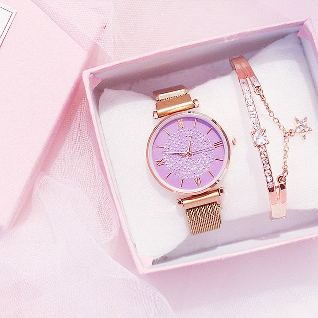 Ladies Watch Bracelet Gift Box Set Womens Luxury Brand Diamond Starry Gold Quartz Wristwatches Crystal Magnetic Steel Mesh reloj