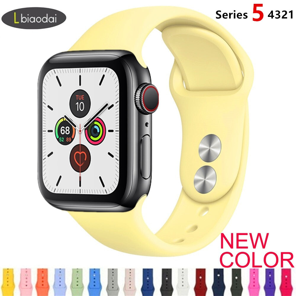 Strap For Apple Watch band 38mm 42mm iWatch 4 band 44mm 40mm Sport Silicone belt Bracelet Apple watch 5 4 3 2 strap Accessories
