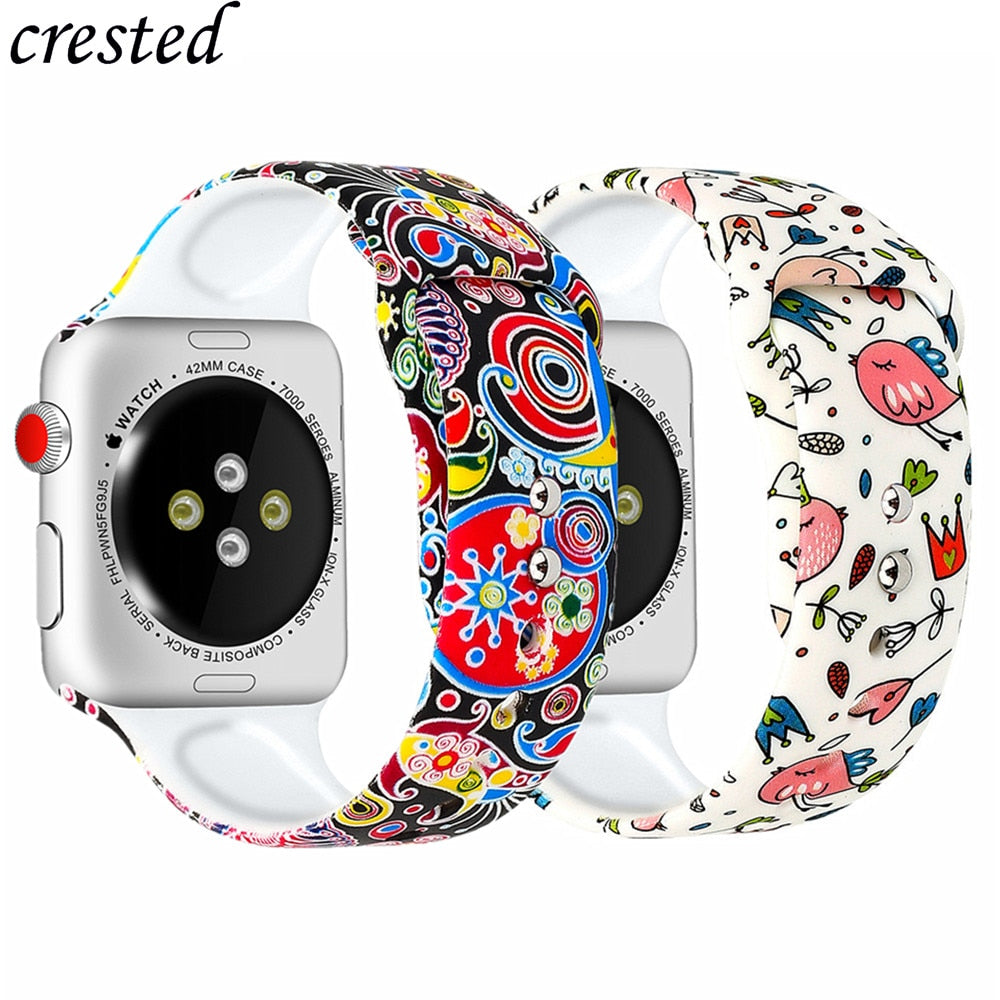 Silicone strap for Apple watch band 38m 42mm iWatch 5 band 44mm 40mm Printed watchband bracelet Apple watch 5 4 3 21 Accessories