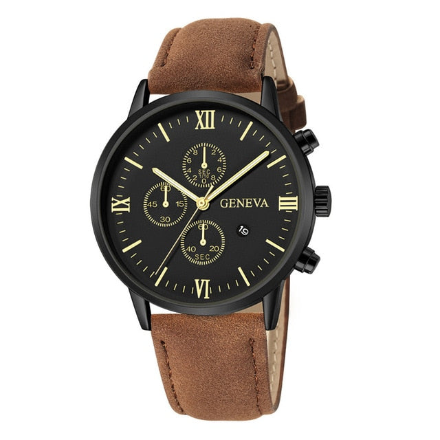 Fashion Geneva Men Date Alloy Case Synthetic Leather Analog Quartz Sport Watch Male Clock Top Brand Luxury Relogio Masculino D30