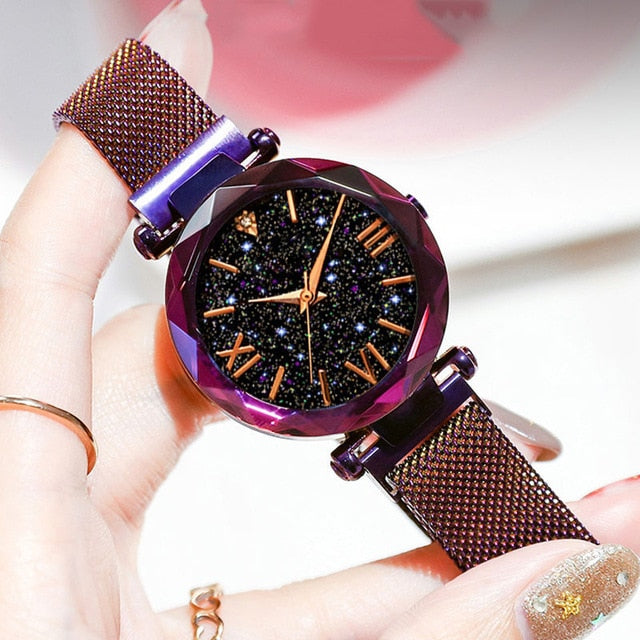 Ladies Watch Women Watch Magnetic Starry Sky Clock Quartz Wristwatch Women Watches reloj mujer relogio feminino Free Shipping