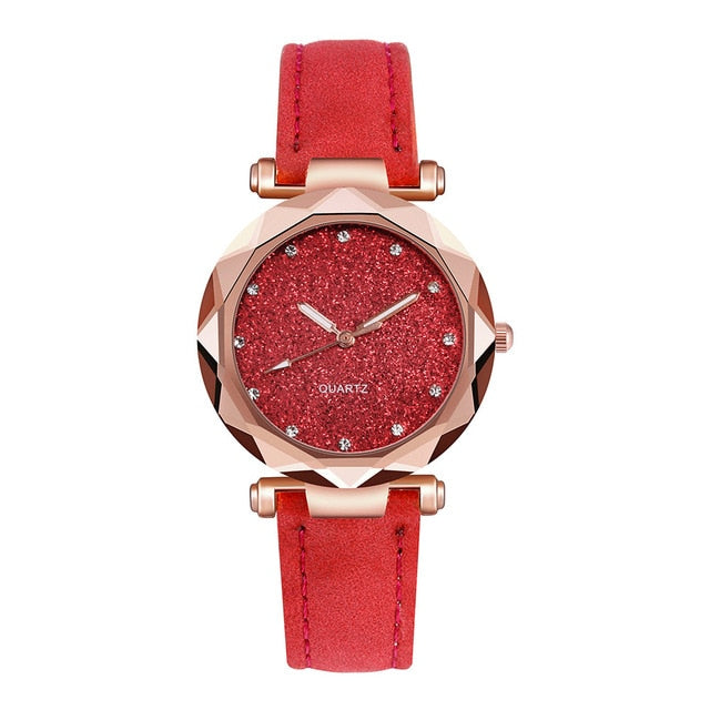 Casual Women Romantic Starry Sky Wrist Watch Reloj Mujer Leather Rhinestone Designer Ladies Clock Simple Dress Gfit Montre Femme