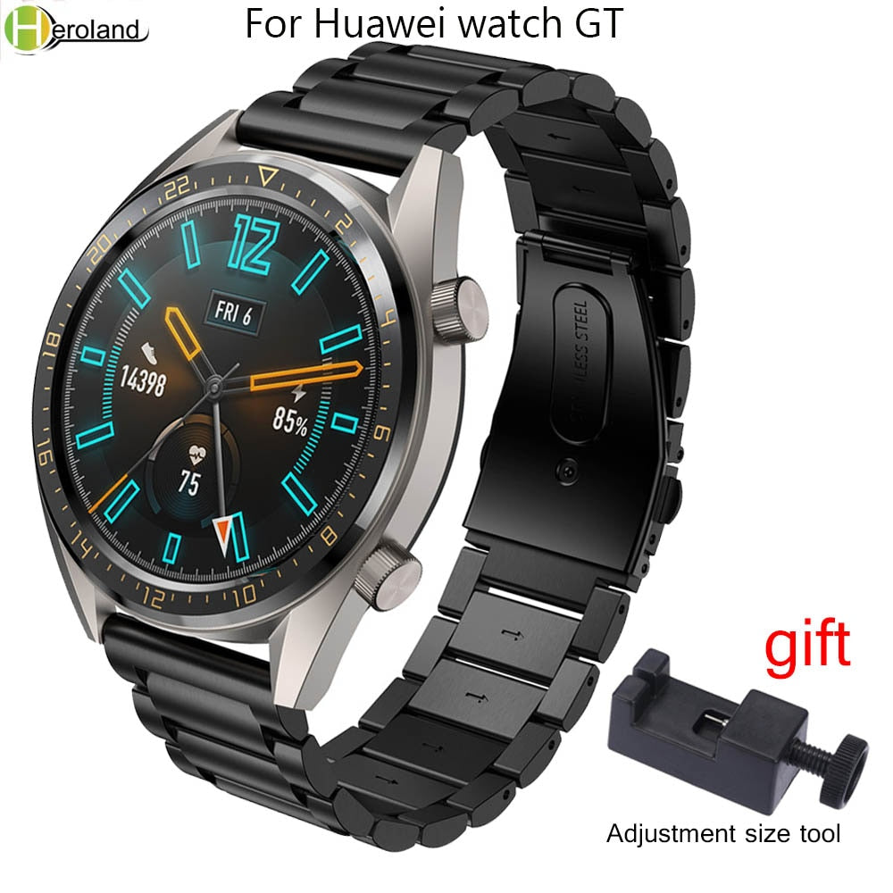 22mm Watch Strap Stainless Steel for Huawei Watch GT/GT2 honor magic Quick Release Watchband For Samsung Gear S3 Wristband +Tool