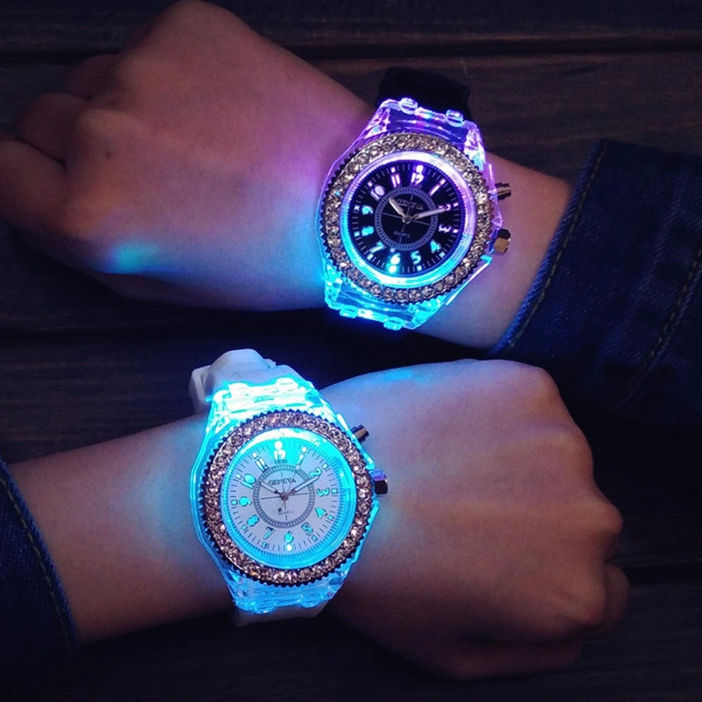 Ladies Womens Mens Geneva LED Backlight Sport Waterproof Quartz Wrist Watches
