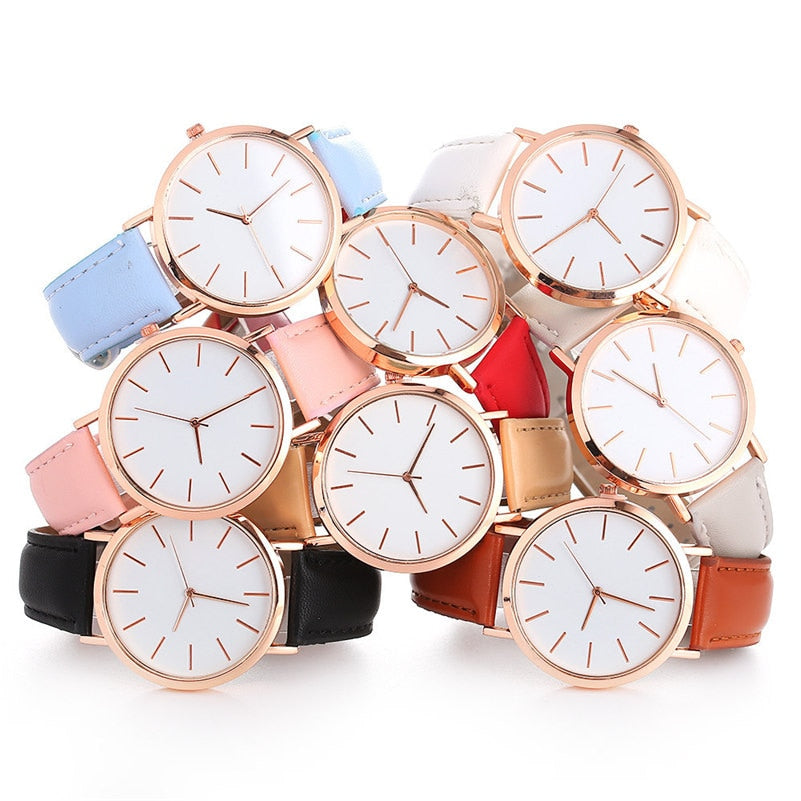 Women Watches Fashion Rose Gold Minimalism Simple Leather Band Quartz Analog Wrist Watch Luxury Ladies Casual Dress Clock #c