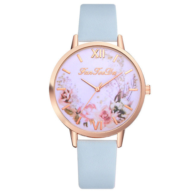 Fashion Women Watches Flower Pattern Quartz Leather Band Watch Analog Quartz Wrist Watch Luxury Dress Dropshipping relogio #C