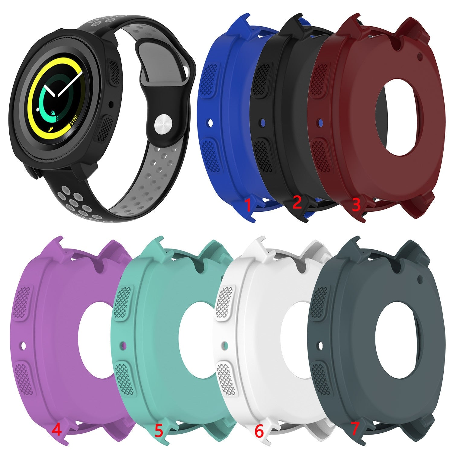 Fashion Soft Silicone Protector Case Cover for Samsung Gear Sport R600 Corlorful Replacement Watch Protective case shell Frame