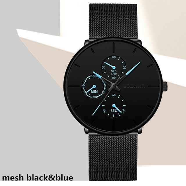 2020 Fashion Mens Watch Minimalist Luxury Ultra Thin Stainless Steel Mesh Band Wrist Watch Analog Quartz Watches Relojes Hombre