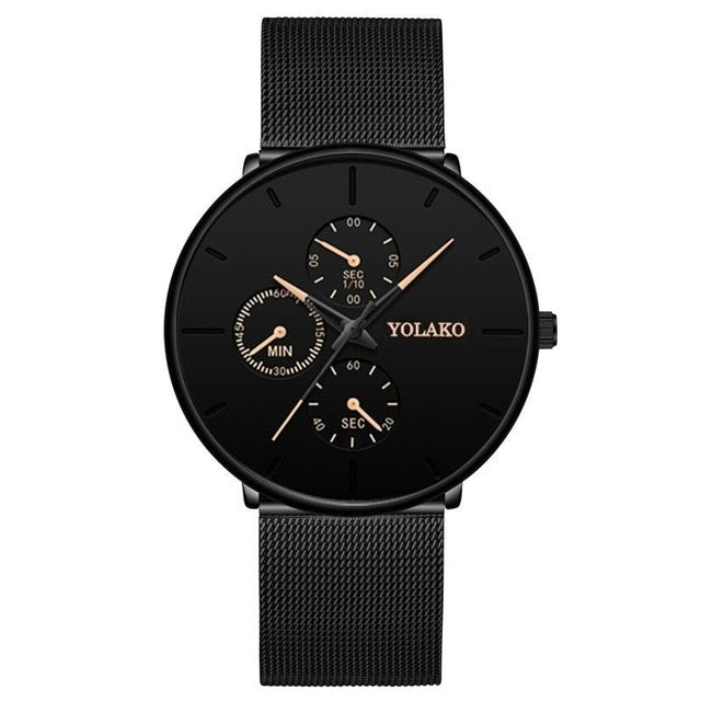 Fashion Mens Business Black Watches Luxury Stainless Steel Ultra Thin Mesh Belt Quartz Men Wrist Watch Casual Classic Male Watch