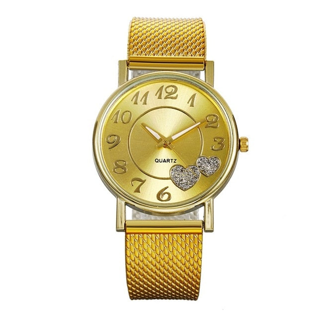 Fashion Women watches Ladies watch Silver Gold Heart Dial Silicone mesh belt Wrist Watch часы женские reloj mujer montre femme/d