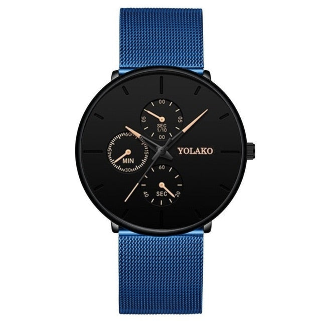 2020 Fashion Mens Business Blue Stainless Steel Mesh Belt Quartz Wrist Watch Luxury Men Ultra Thin Casual Classic Watch
