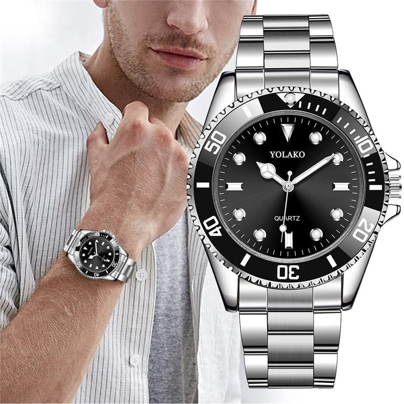 2019 Luxury Men Fashion Military Stainless Steel Sport Quartz Analog Wrist Watch Hot Sales Mens Watches Male masculine relogio