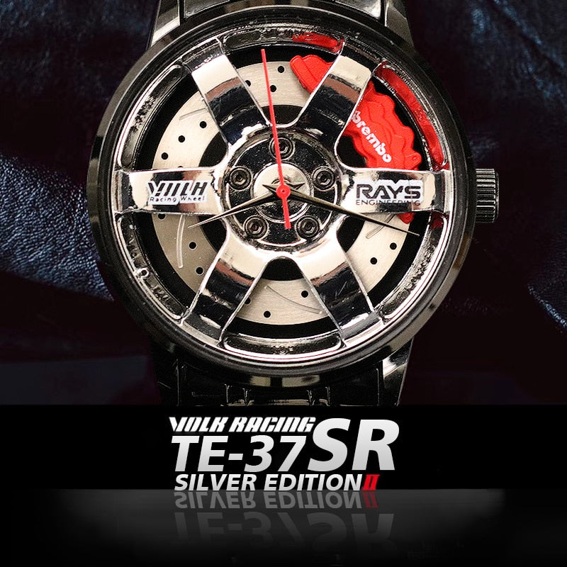New TE37 SR Men Rim Hub Watch Metal Custom Design Car Wrist Watch Stainless Steel Custom not Printing Wheel Rim Hub Watch Men