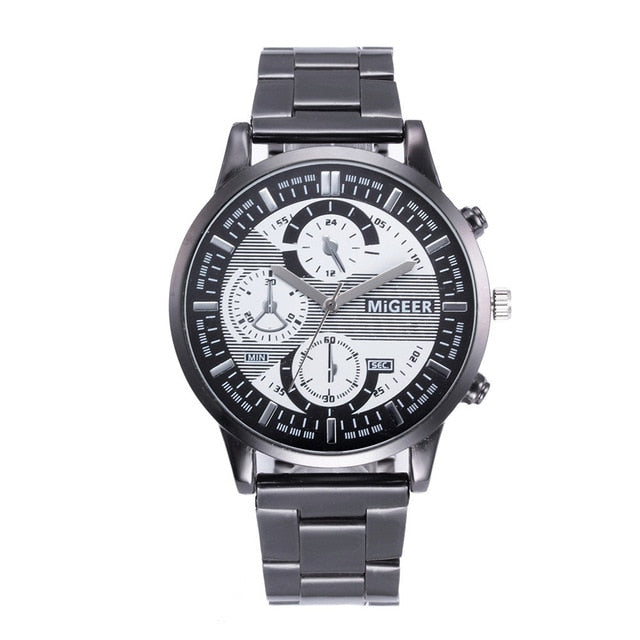 Mens Watches Top Brand Luxury Crystal Stainless Steel Analog Quartz Wrist Watch Bracelet Clock Erkek kol saati orologio uomo /N6